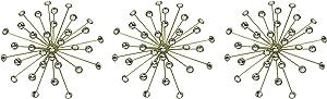 Elico Ltd. Set of 3 Gold Starburst Jeweled Metal Decorative Wall Art Hanging Rhinestone Crystal Home Decor Accents
