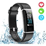 Fitness Tracker, Ausun 130 Plus Color Touchscreen Pedometer Smart Watch, TFT LCD Adjustable Brightness Activity Tracker with Heart Rate Monitor, IP68 Waterproof GPS Connected Smart Wristband with 14 Exercise Modes for iOS & Android