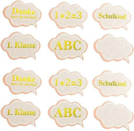 Oblique Unique 12 confetis Comienzo de Escuela, decoración de Mesa ABC Escolar, Primera Clase 1 + 2=3 colegios Manualidades Aufkleben: Amazon.es: Hogar
