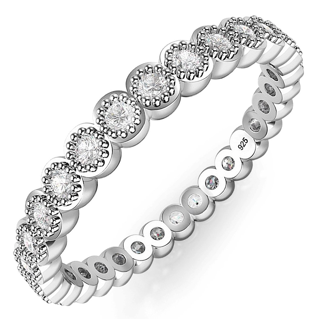 Sz 8 Sterling Silver CZ Stackable Anniversary Eternity Cubic Zirconia Band Ring