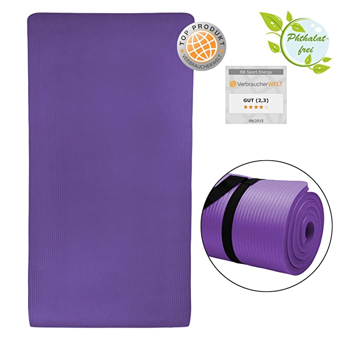 BB Sport - Esterilla de yoga (190 x 100 x 1,5 cm) violeta Talla:190 x 100 x 1.5 cm: Amazon.es: Deportes y aire libre