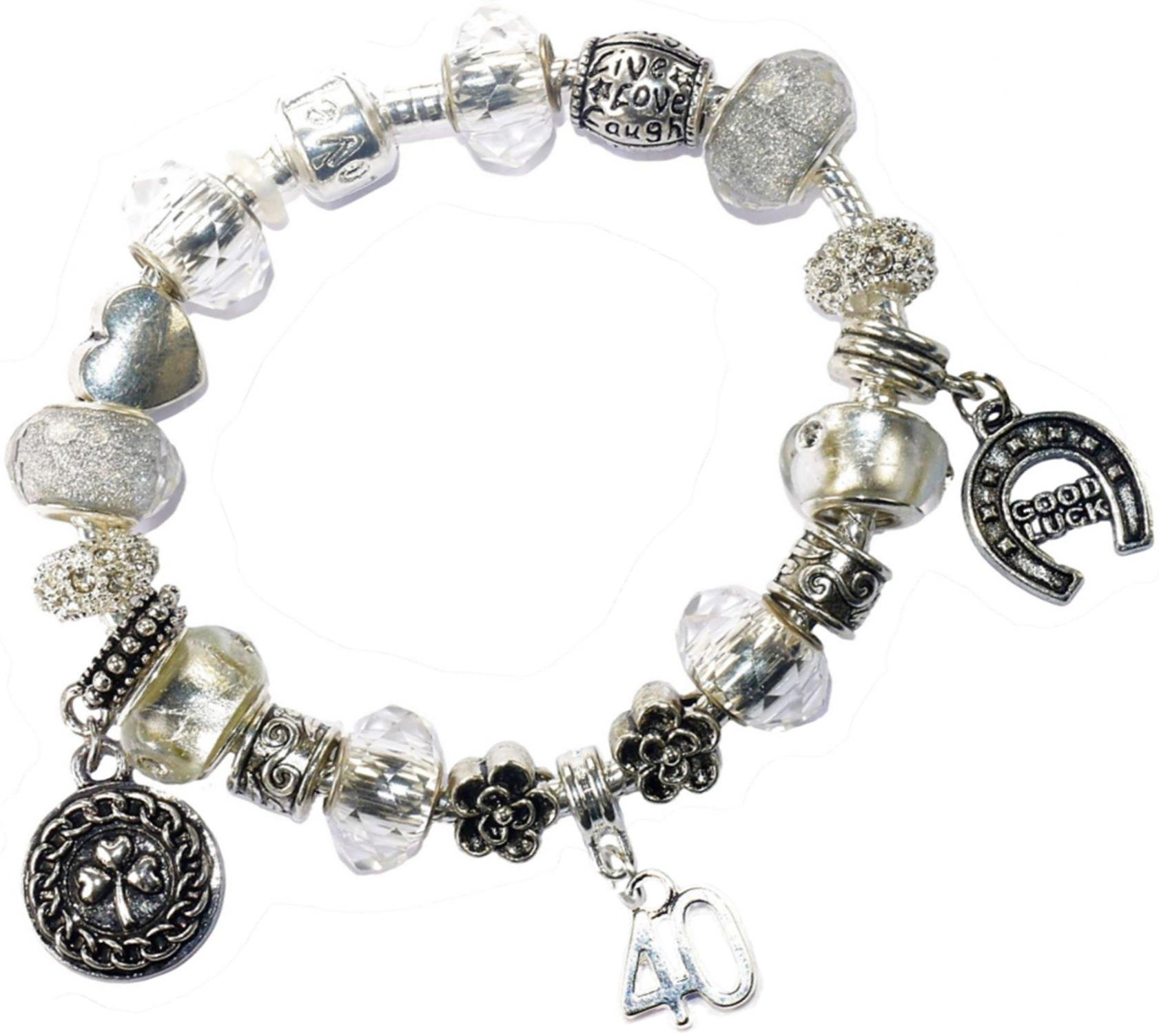 Charm Buddy 40th Birthday Iced Silver Good Luck Pandora Style Bracelet With Charms Gift Box Jewelry
