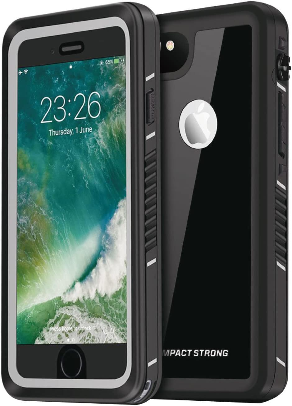"IMPACTSTRONG iPhone 6/6s Plus Case, Waterproof Case [Fingerprint ID Compatible] Slim Full Body Protection for Apple iPhone 6 Plus & 6s Plus (5.5"") - FS Jet Black"