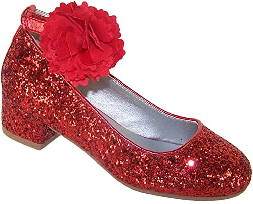 Girls Red Sparkly Glitter Low Heeled