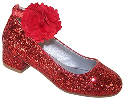 c0d3a672fa5a9 Girls Childrens Red Sparkle Glitter Low Heeled Party Dress Shoes with  Detachable Flower Trim