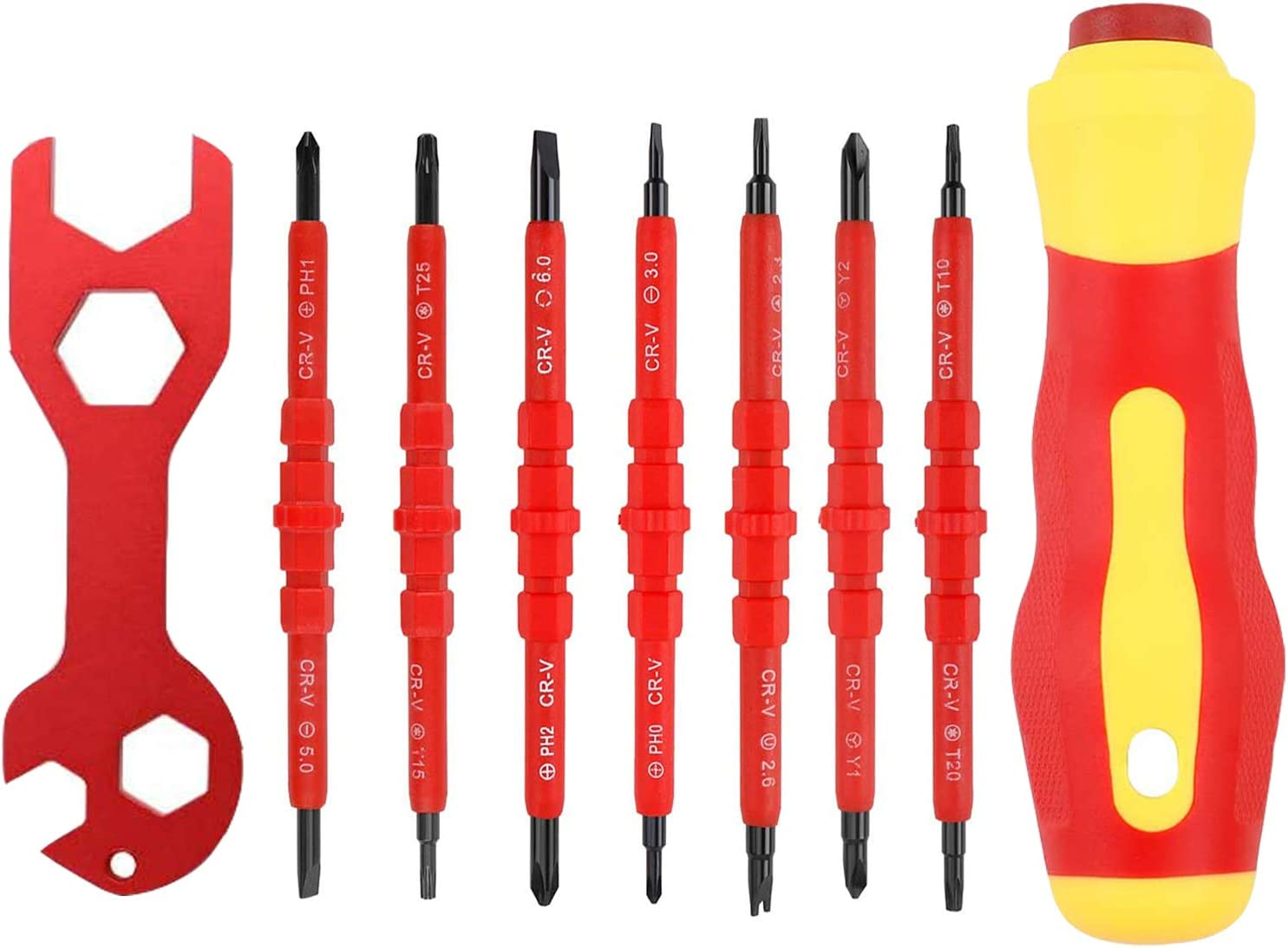 Magnetic Screwdriver Set Multi Electrician Insulated Screwdriver Set with the Wrench for Home Appliance and Other Electronic Devices