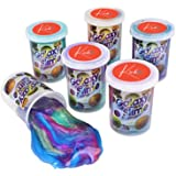 Marbled Unicorn Color Slime - Pack of 6 Colorful Galaxy Sludgy Gooey Kit for Sensory and Tactile Stimulation, Stress Relief,