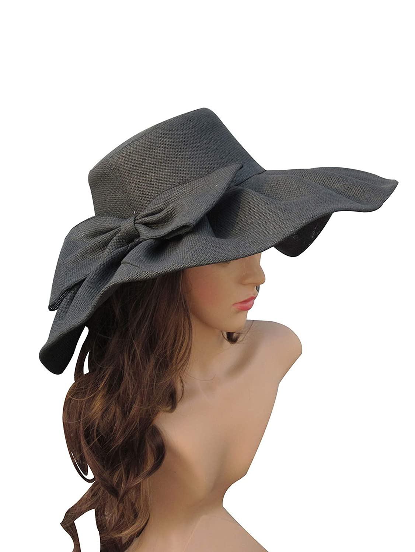 Black Huge Linen Sun Hat Women Kentucky Derby Wide Brim Sun Hat Wedding Church Beach Hats Women Floppy Ladies Hat