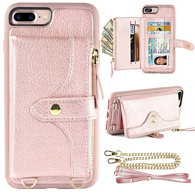 hot sale online 54aa7 d02a4 LAMEEKU Wallet Case Compatible with iPhone 8 Plus, iPhone 7 Plus Card  Holder Leather Case with Wrist Chain Crossbody Strap Zipper Case for iPhone  7 ...