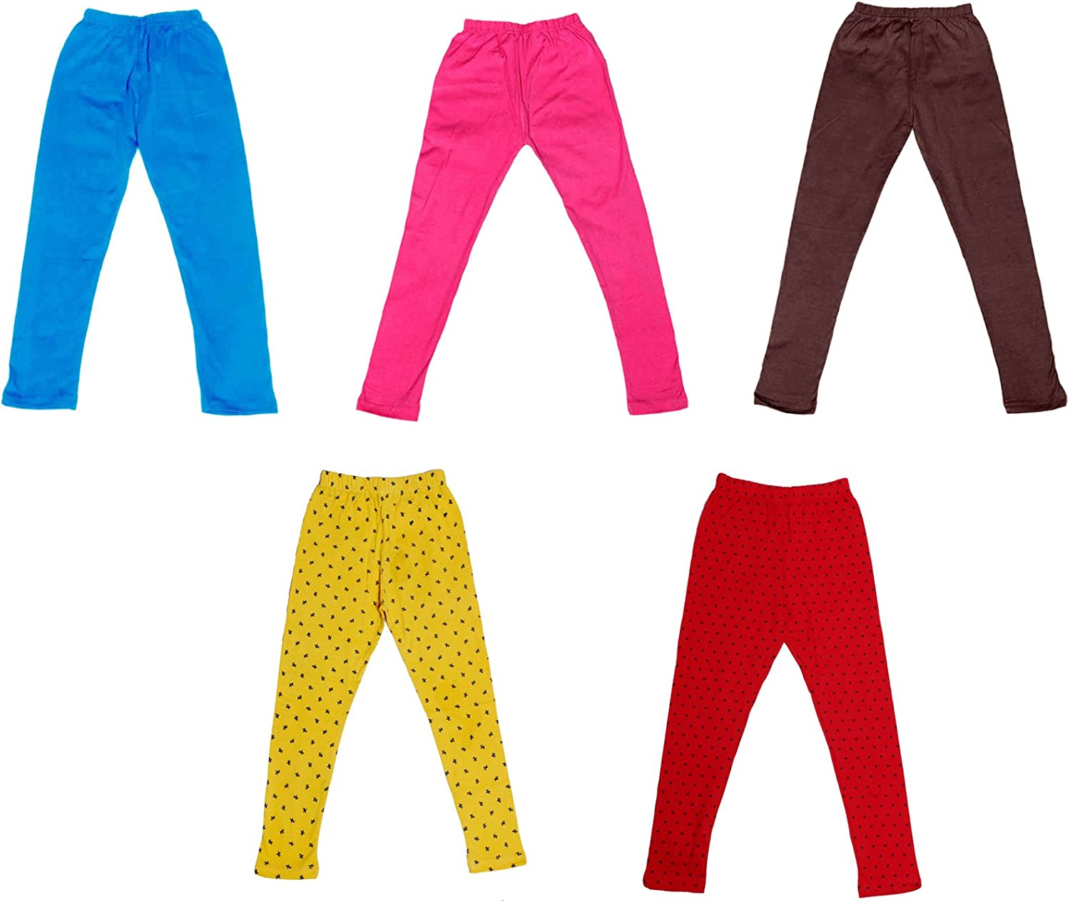 Indistar Super Soft and Stylish 3 Solid and 2 Cotton Printed Leggings For Girls Pack of 5