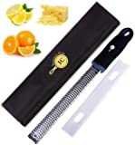 Integrity Chef PRO Citrus Zester & Cheese Grater | Ergonomic Non-Slip Grip Handle, Dishwasher Safe, Antibacterial Cover, Lemon Zester Tool | Handheld Rasp for Ginger, Garlic, Vegetables | SAVE A LIFE!