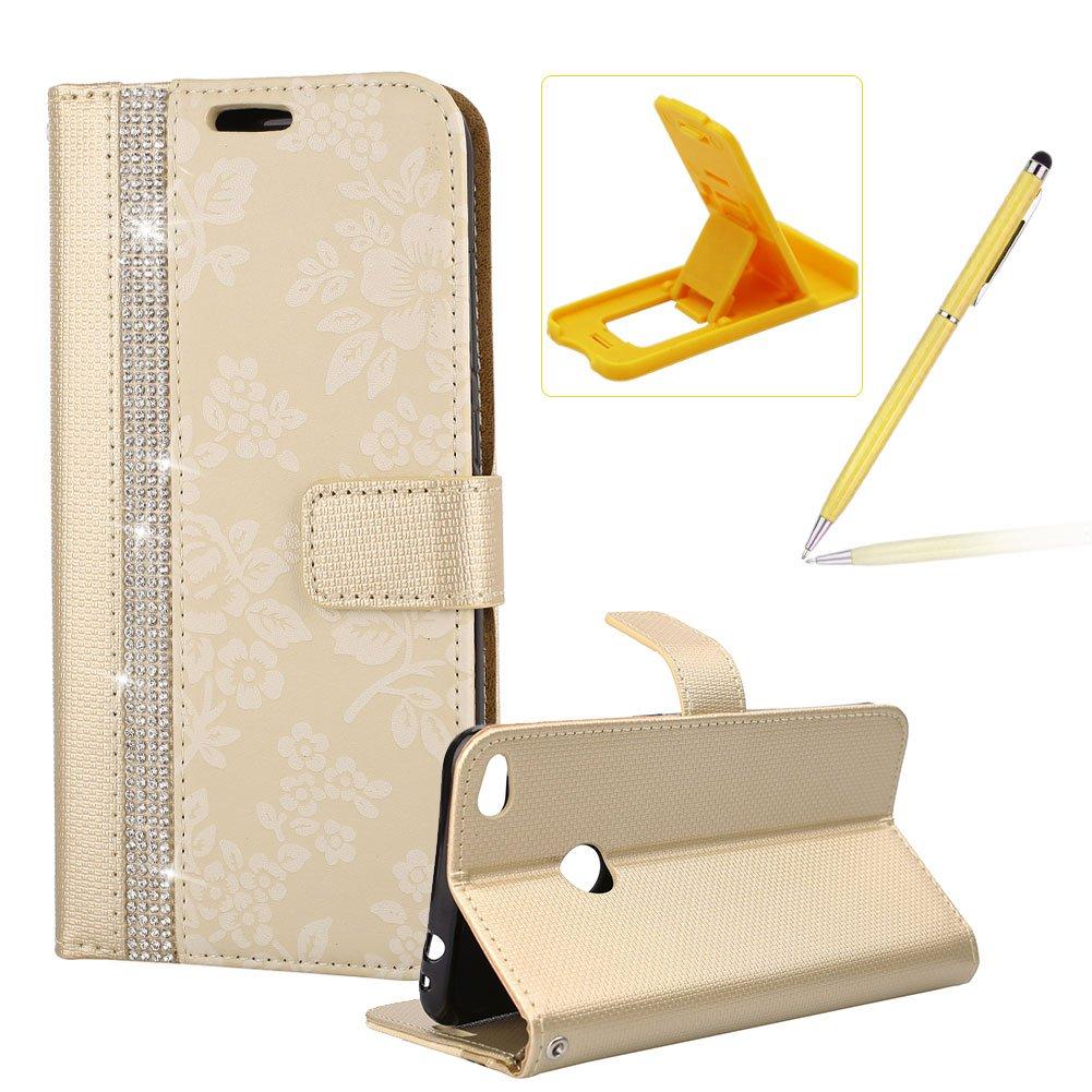 Strass Premium PU Leder Case für Huawei P9 Lite (5.2 Zoll), Blumen Muster Brieftasche Etui, Herzzer Klapphülle Innere Soft TPU Bumper mit Magnetverschluss Ständerfunktion ID Karte Schutzhülle für Huawei P9 Lite (5.2 Zoll) - Gold