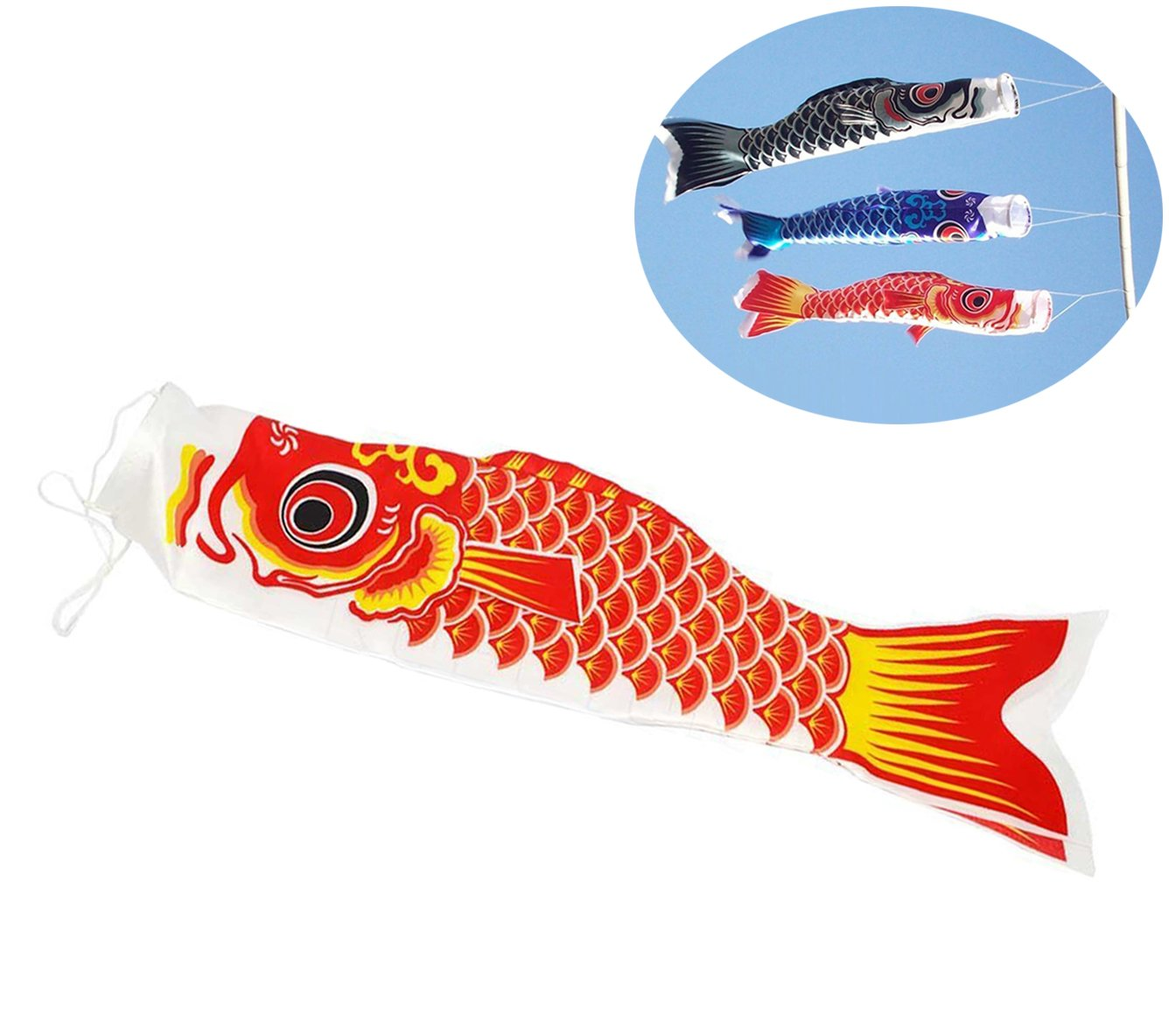 Chytaii Japanese Windsock Carp Flag Carp Windsock Carp Fish Wind Streamer Koinobori 70cm/28inch (Black)