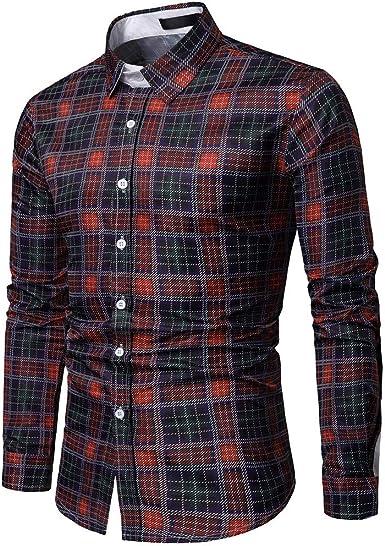 SoonerQuicker Camisas Hombre Manga Camisas de Manga Larga de Manga Larga a Cuadros de Moda de Hombre de Negocios de un Solo Pecho Tops - 2019 última Camisa Casual cómoda, Rojo,XL: Amazon.es: