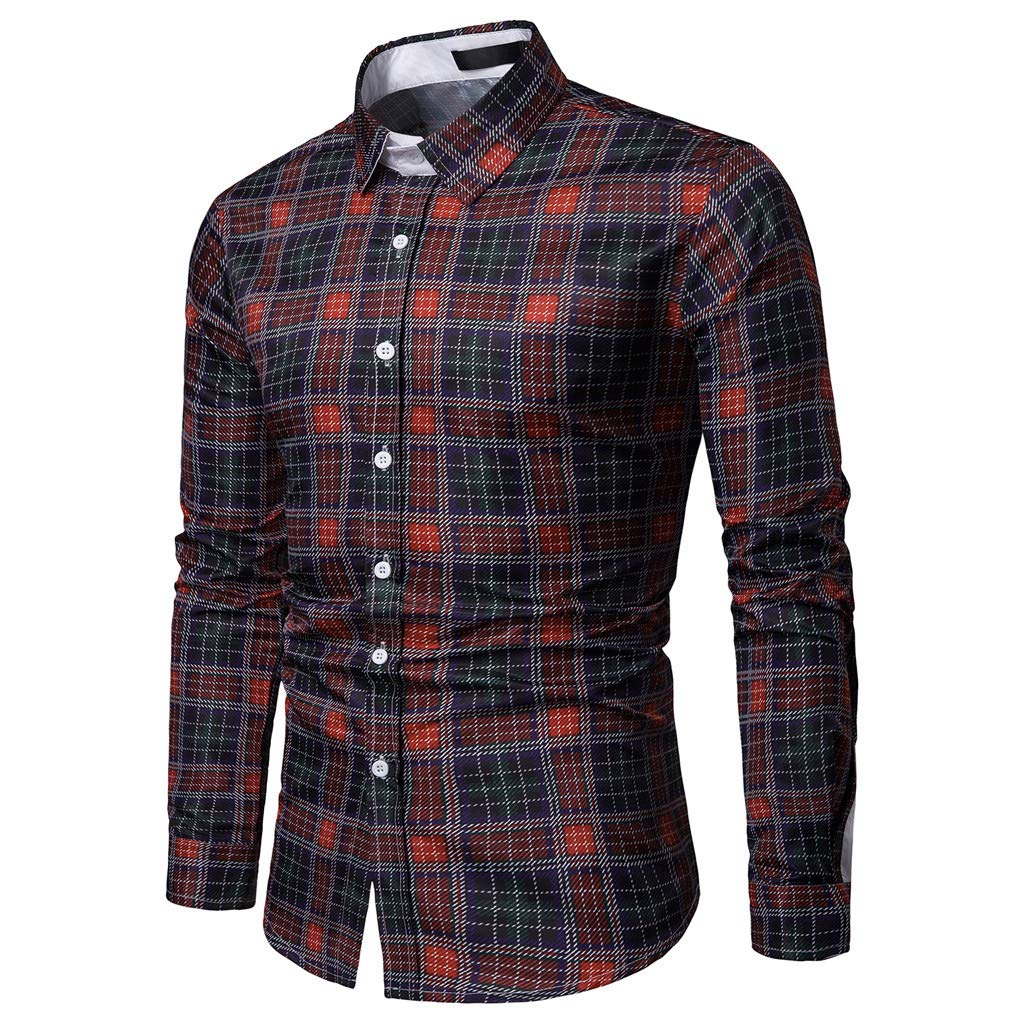 Mr.Macy Mens Business Casual Long Sleeved Single Breasted Plaid Shirts Tops