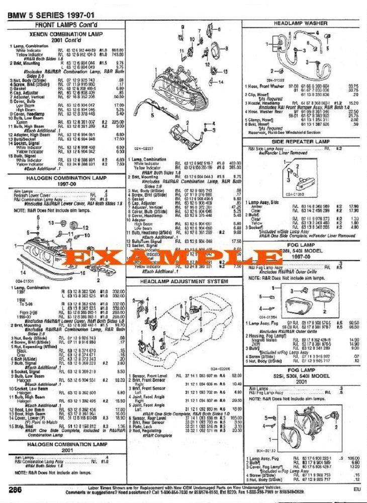 2003 - 2005 TOYOTA 4RUNNER PART NUMBERS, LABOR & PRICE