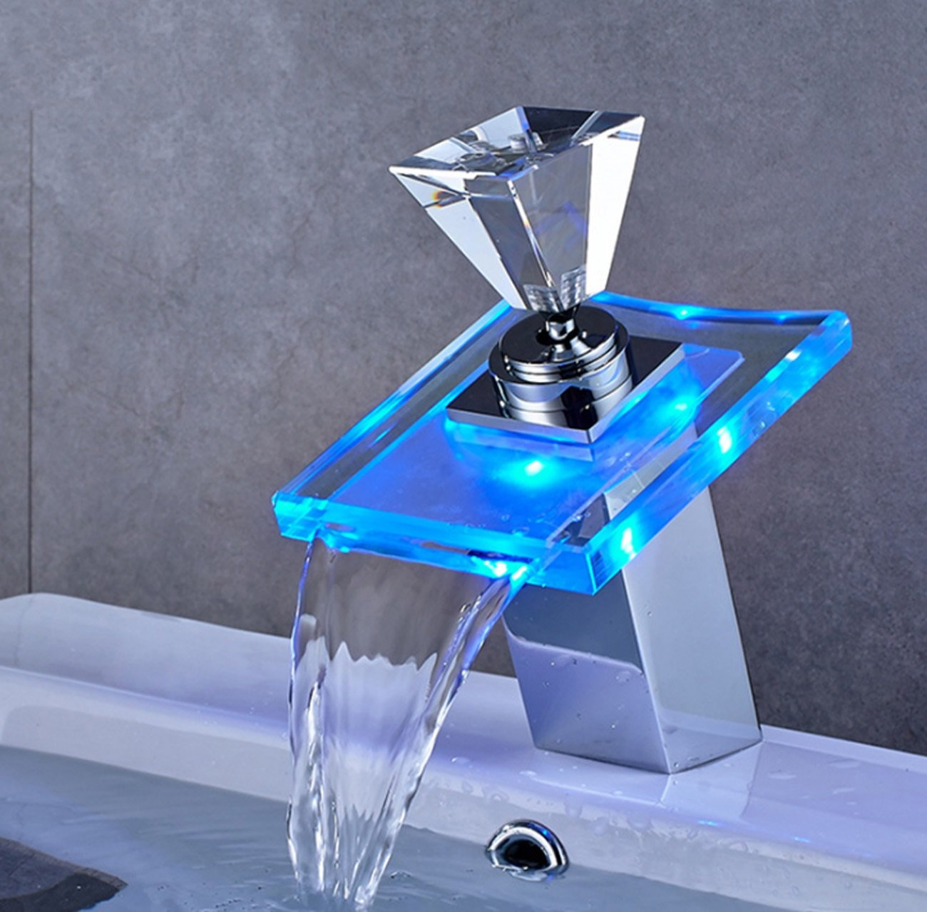 LED Light Colour Changing Waterfall Bathroom Sink Faucet,One Hole Single Handle Glass Bathroom Basin Tap With Temperature Sensor,Ceramic Valve