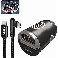 PLP TEK Sigarettenaansteker USB-oplader voor auto, aluminiumlegering, KFZ Mini Adapter Dual Port 30W PD voor iPhone X/XR…