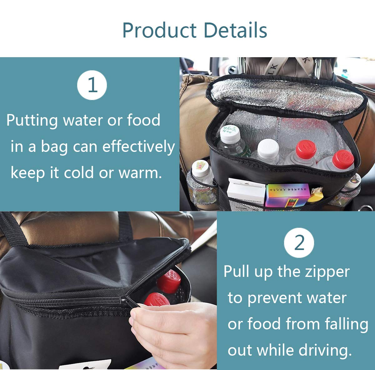 Multi-Purpose Car seat Protection Bag Drink Holder Car Back seat Storage Bag-Thermal Insulation Suitable for Vehicles Anti-Kick pad Tissue Box