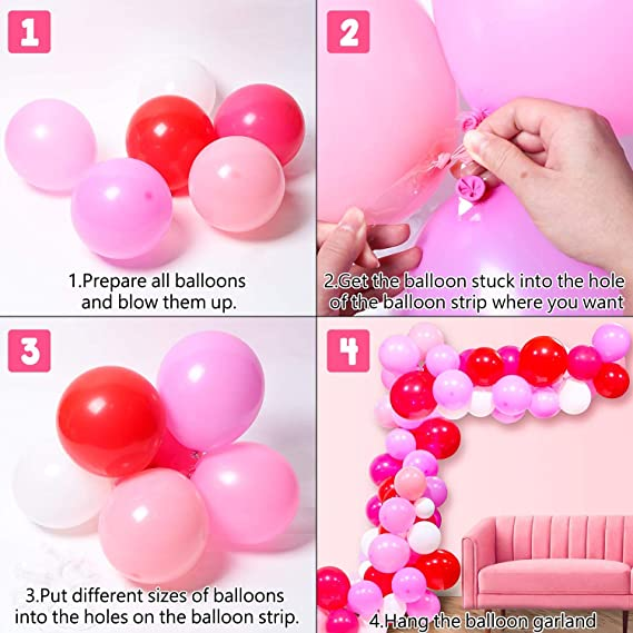 MALLMALL6 107Pcs Valentine/'s Day Balloon Garlands Arch Decorations XOXO Foil Letters Mylar Balloons Pink Rose Red Latex Balloons Room Decor Wedding Engagement Anniversary Bachelorette Party Supplies