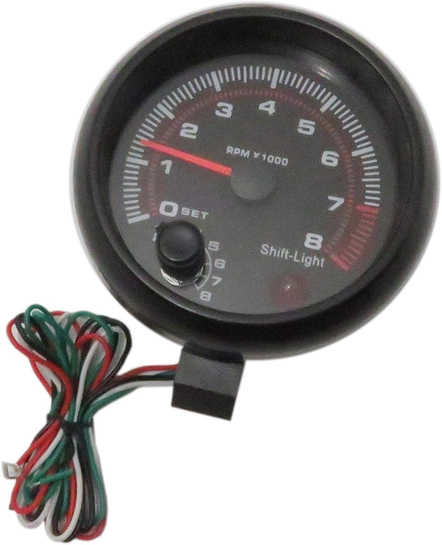 DEEPSOUND 3.75 Universal Car Tachometer Tacho Gauge Meter LED Shift Light for Auto Gasoline Car 0-8000 RPM