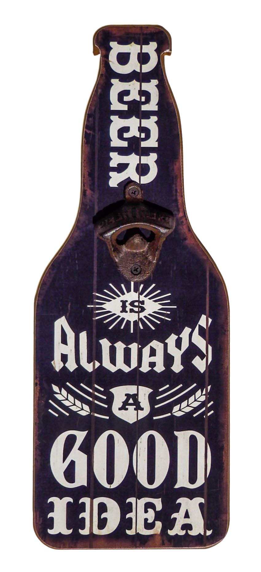Home Bar and Man Cave Decor, Accessories, Supplies -''Beer Is Always A Good Idea'' Wooden Sign and Bottle Opener – College Dorm Room Accessories - Beer Lover Gift for him, husband, dad,