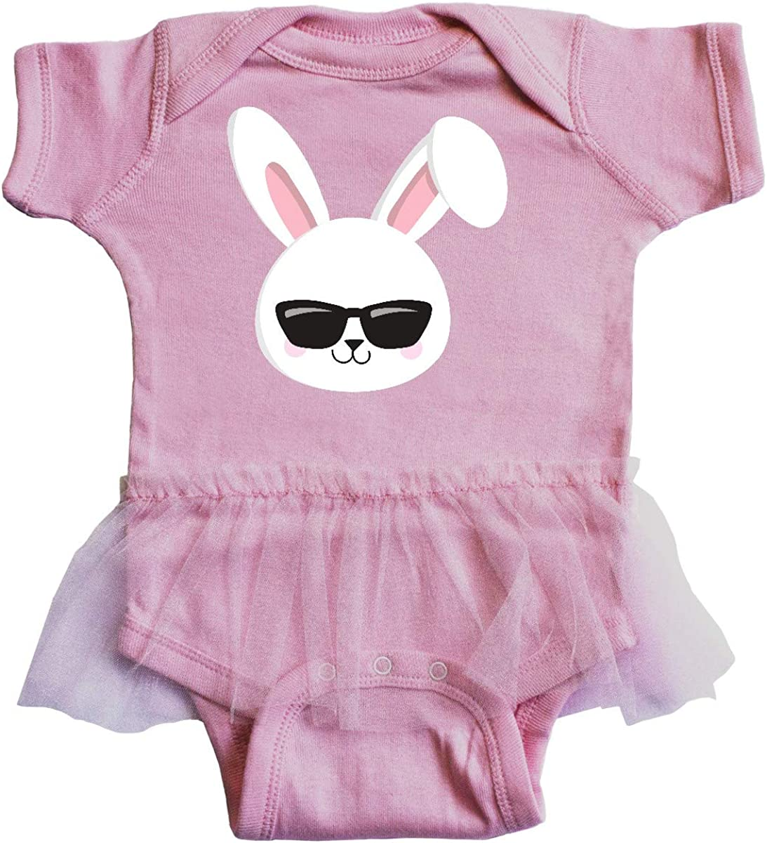 inktastic Cute Bunny Bunny Wearing Sunglasses Infant Tutu Bodysuit White Bunny
