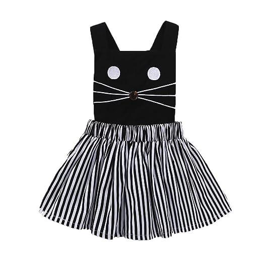 52d143dd171e Amazon.com  KONFA Toddler Baby Girls Sleeveless Tops+Striped Dress ...