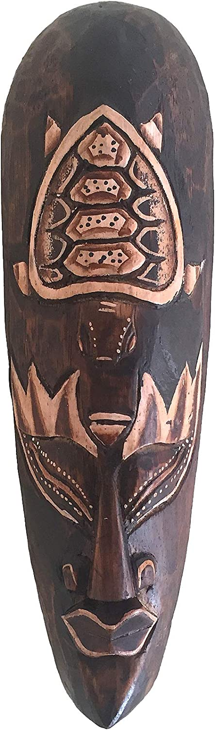 OMA Lucky Turtle African Wall Mask Wooden Carved African Wall Hanging Art Home Decor Gift (12