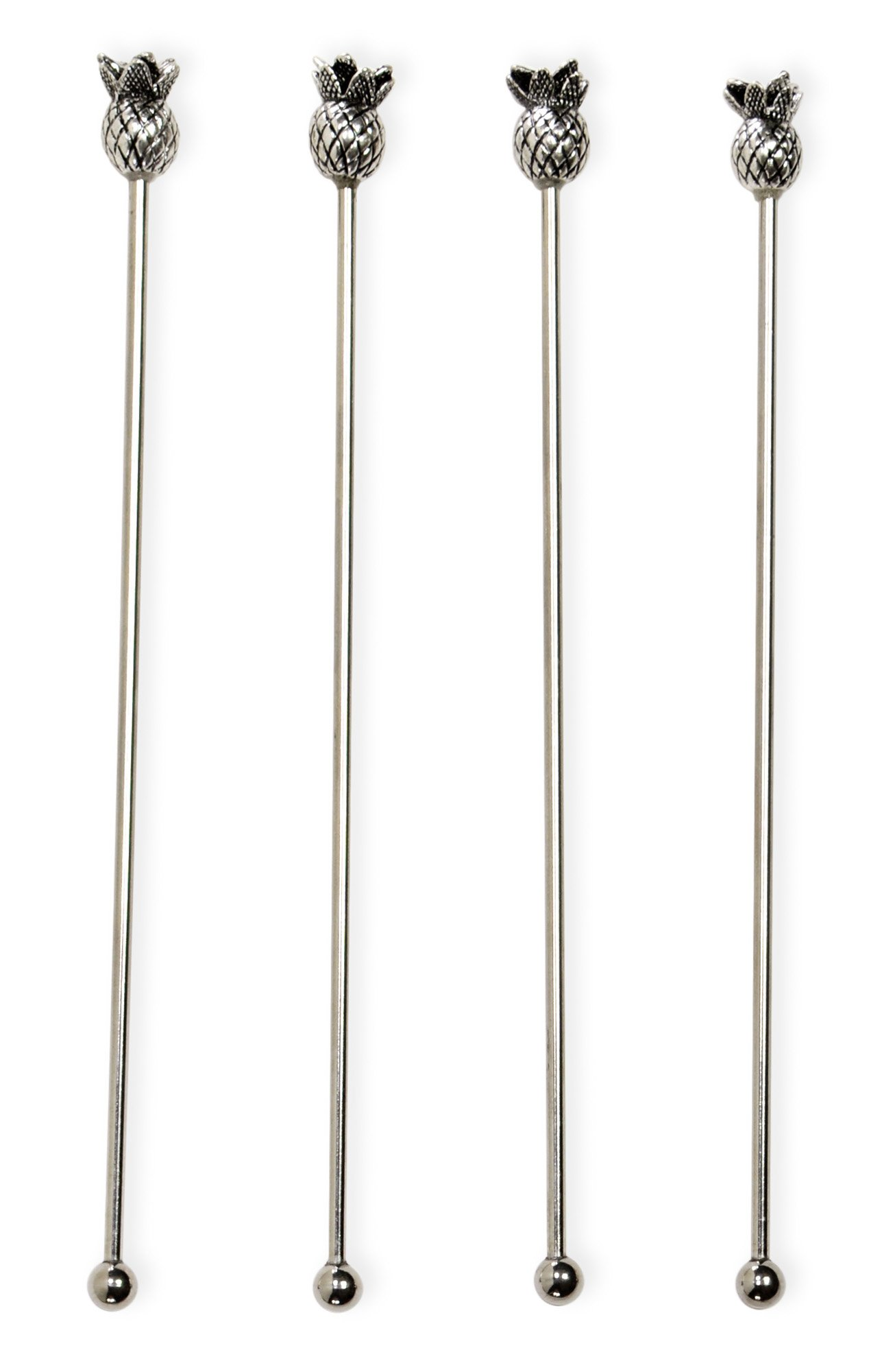 Boston International Stainless Steel Cocktail/Drink Stirrers (Set of 4), Pineapple, 7.5''