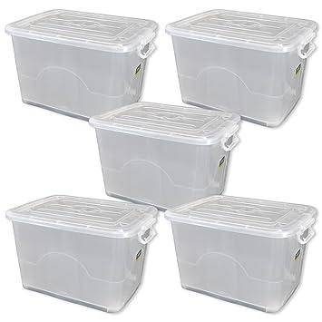 le dernier 26223 67b55 Lot de 5 coffres, caisse de rangement plastique avec ...