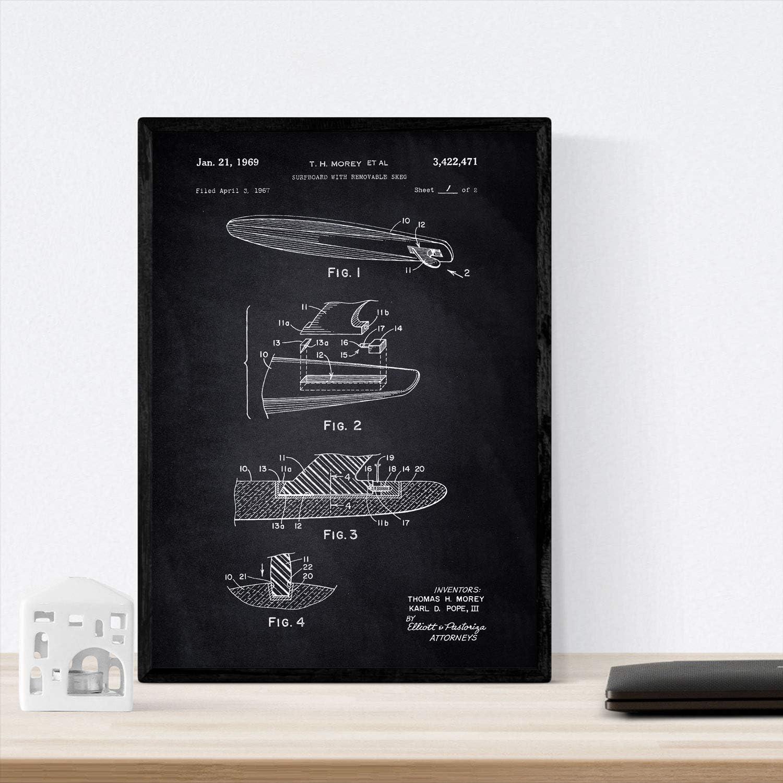 Nacnic Poster con patente de Surf con quilla. Lámina con diseño de patente antigua en tamaño A3 y con fondo negro