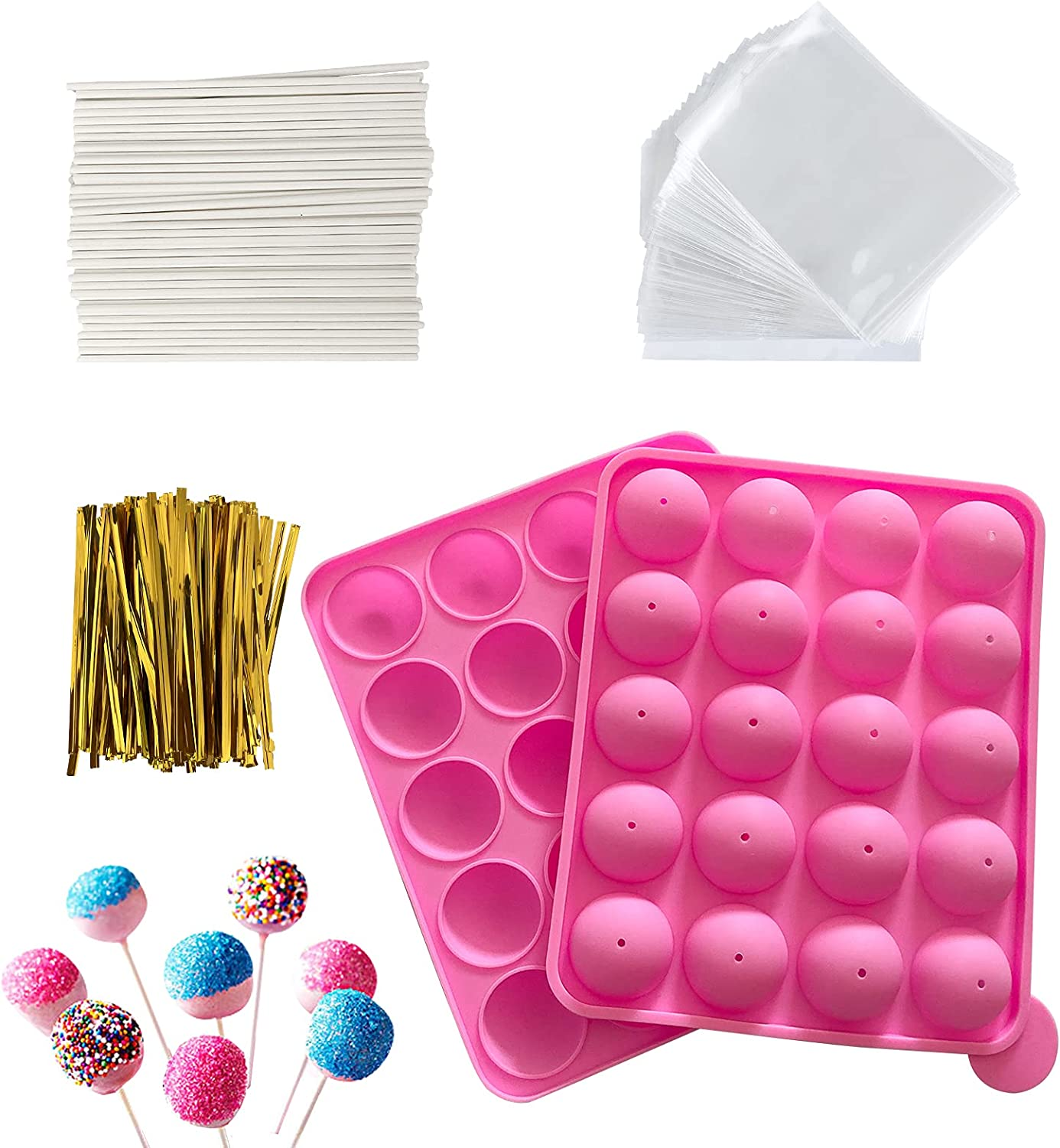 HYCSC 20 Cavity Silicone Cake Pop Mold Kits - Cake Pop Tray with 60pcs Cake Pop Sticks, Bags, Twist Ties, Great for Cake Pop Maker , Lollipop Mold, Cake Pop and Chocolate