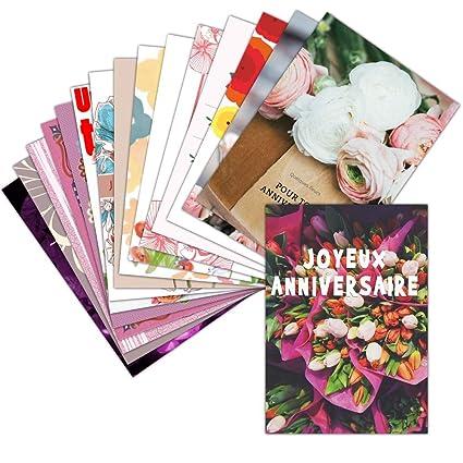 Tarjeta de felicitación de cumpleaños de flores con - Lote ...