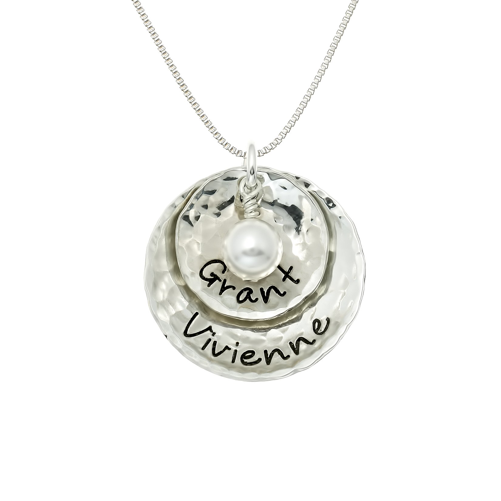 Dopio Personalized Sterling Silver Necklace with 2 Customizable Discs. Hand Finished and Accompanied by a Swarovski Pearl on a Sterling Silver Chain. Gifts for Her, Wife, Mother, Grandmother