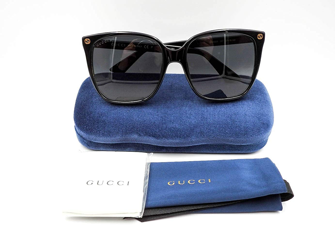 155bb1dc9138f Amazon.com  Authentic GUCCI Polarized Black Cat Eye Sunglasses GG0022S -  007NEW  Clothing