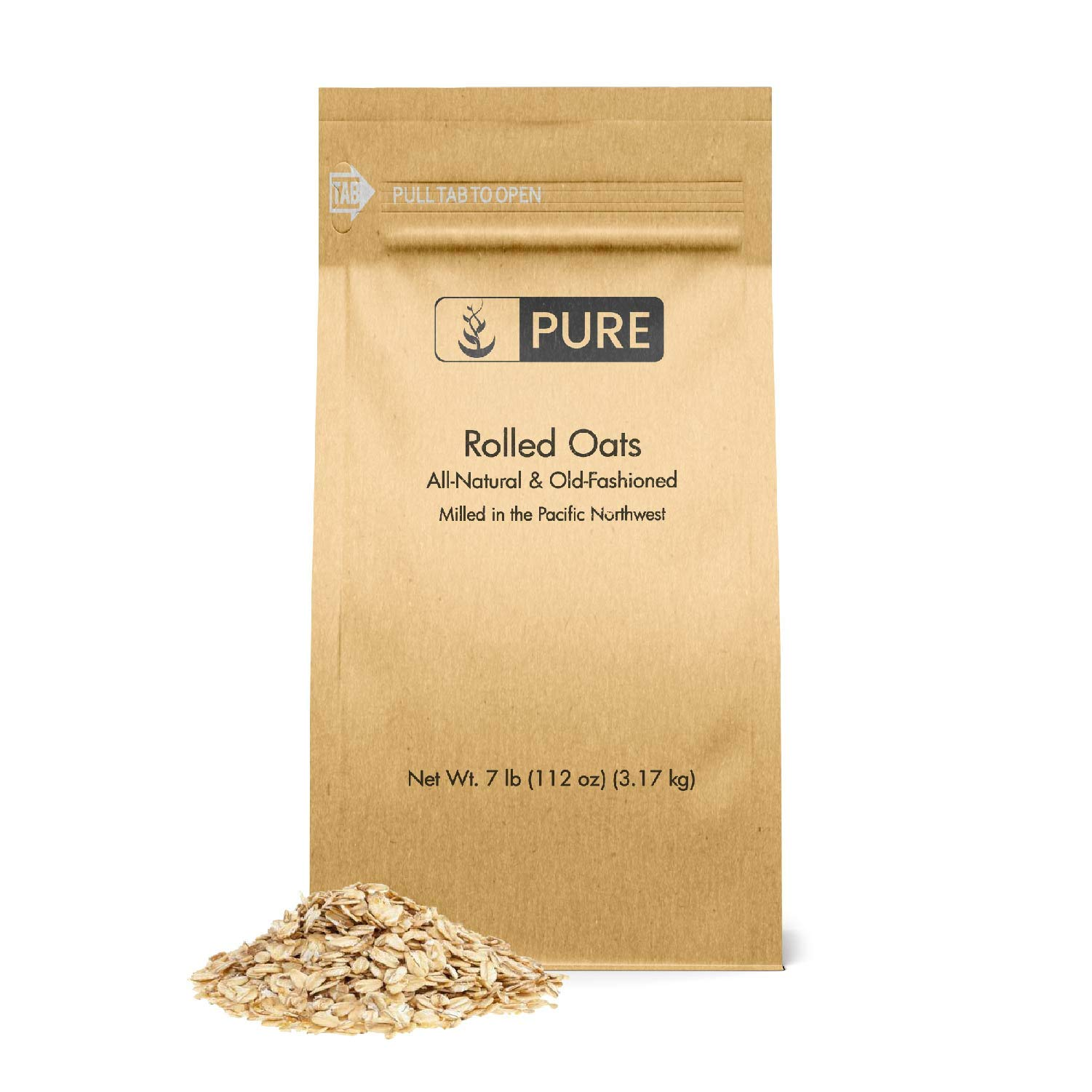 Rolled or Old-Fashioned Oats (7 lbs.) by Pure Organic Ingredients, Resealable Packaging, For Everything From Breakfast to Face Masks And More! by Pure Organic Ingredients (Image #1)