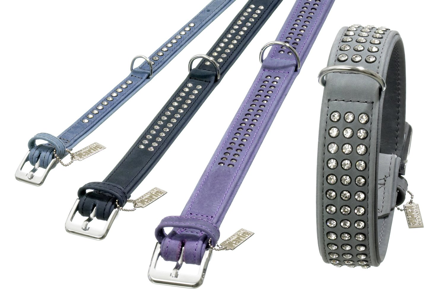 Karlie Buffalo Denim Collars with Rhinestones, 55 cm x 30 mm, Lavender