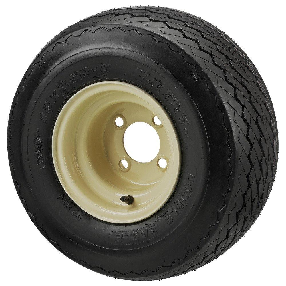 18x8.50-8 TL Double Eagle Tire on 8x7 4-lug Club Car Beige Steel Wheel - Set of 4