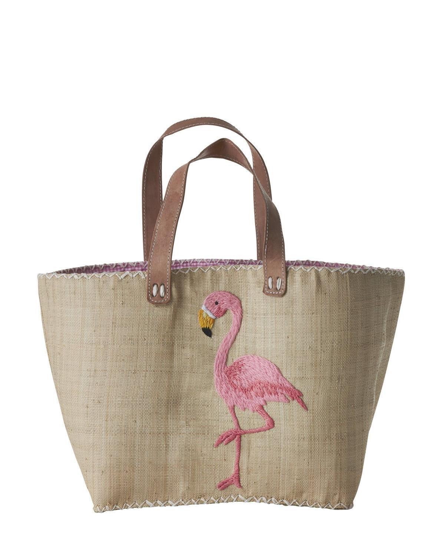 Rice Bolsa de la compra de rafia y piel rosa Flamingo ...