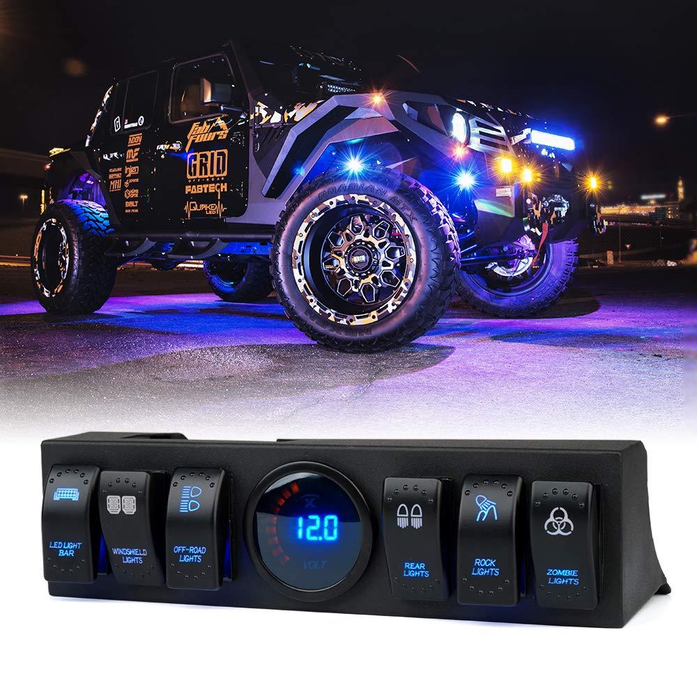 6 Rocker Switch Panel Cotrol Bracket W// Digital Voltmeter Fit Jeep Wrangler JK