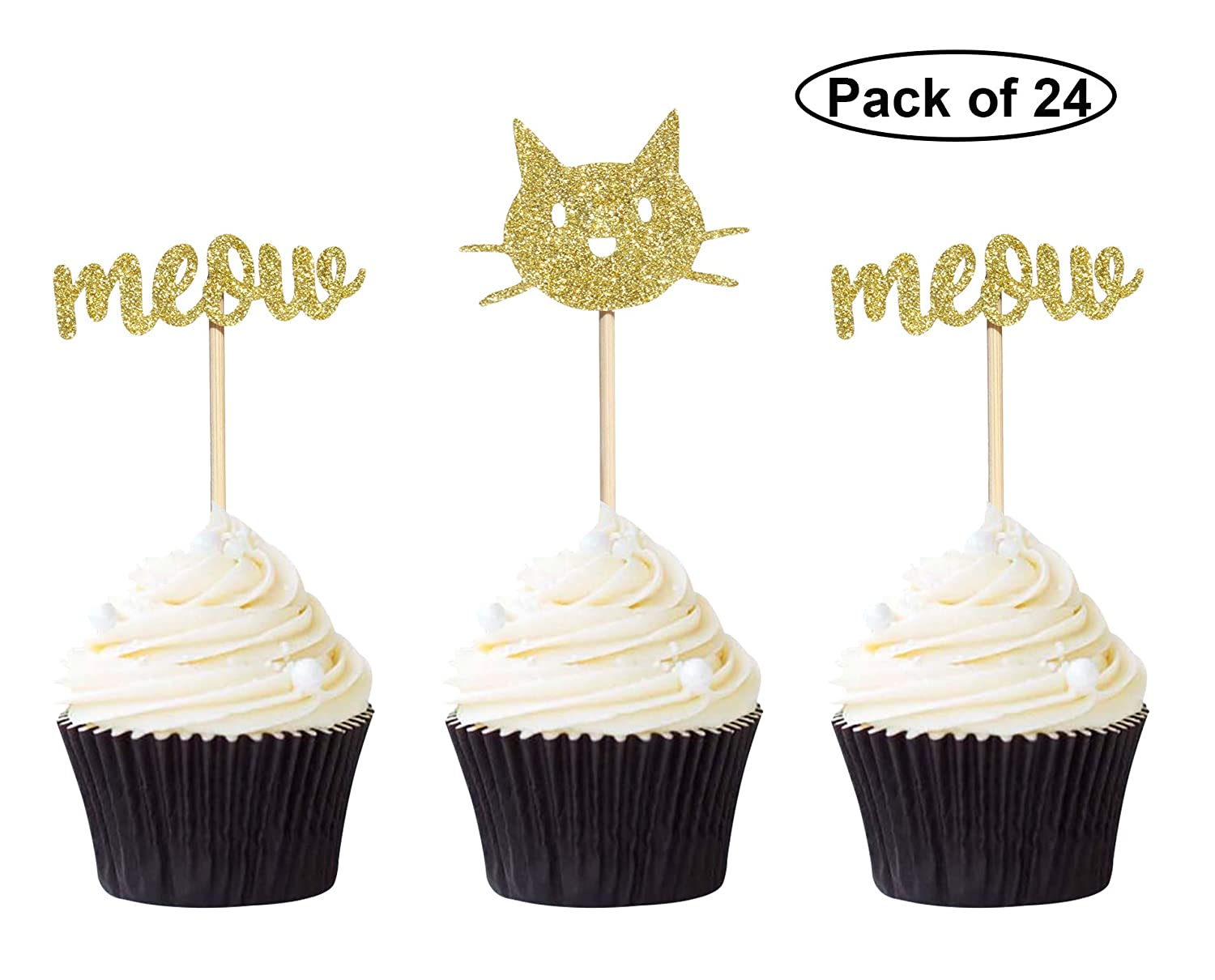 24 Counts Black Cat and Meow Cupcake Toppers Girls Birthday//Cat Lover//Kitten Party Decorations Giuffi