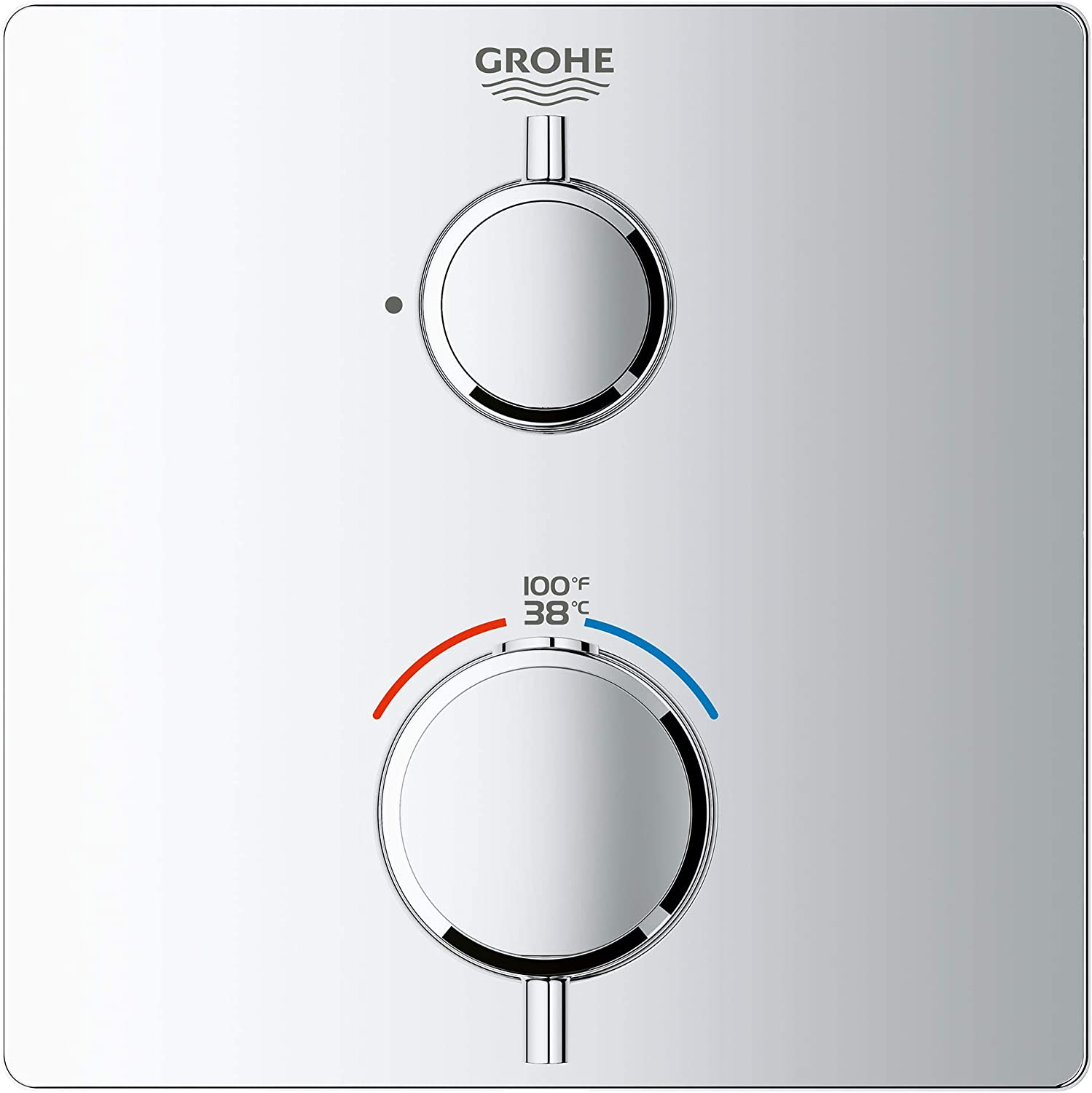 Starlight Chrome GROHE 24111000 Grohtherm Dual Function 2-Handle Thermostatic Trim