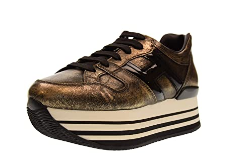 Hogan Scarpe S0neakers Running da Donna Maxi Platform H222 Nero Oro Casual  Sportive HXW2830T548JD81805  MainApps  Amazon.it  Scarpe e borse 641ab8166e6