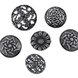 Souarts Mixed Antique Silver Color Pattern Engraved Metal Buttons Pack of 50pcs