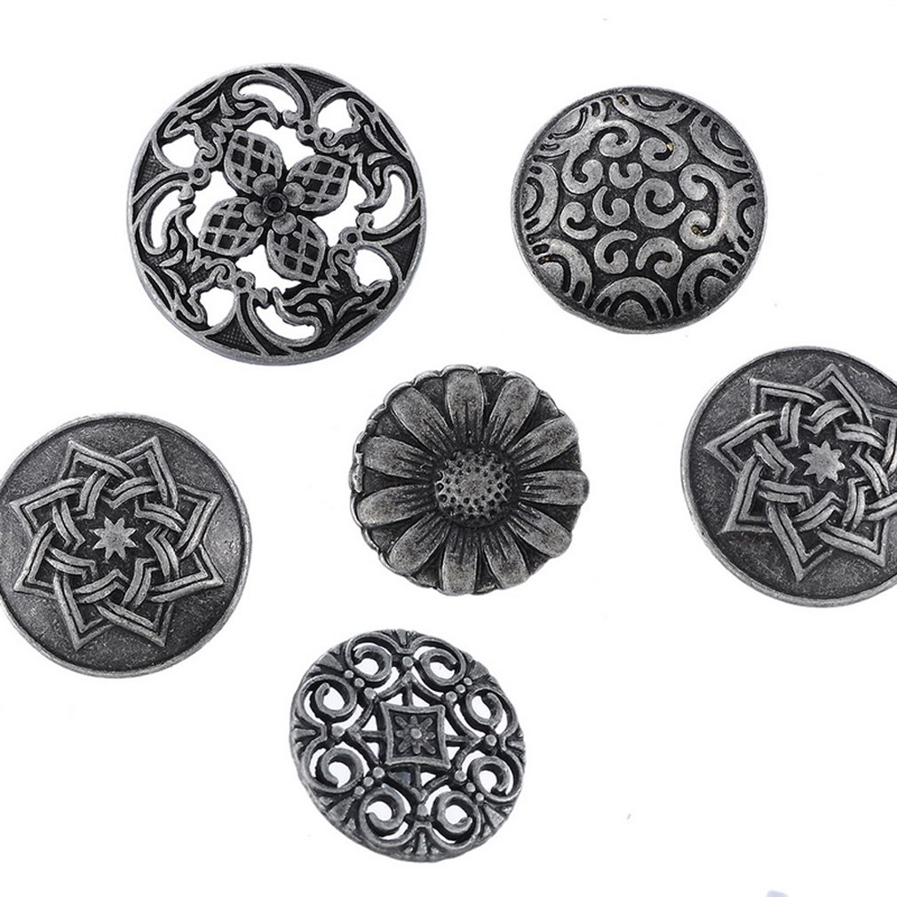Souarts Mixed Antique Silver Color Pattern Engraved Metal Buttons Pack of 50pcs Hello_Crafts