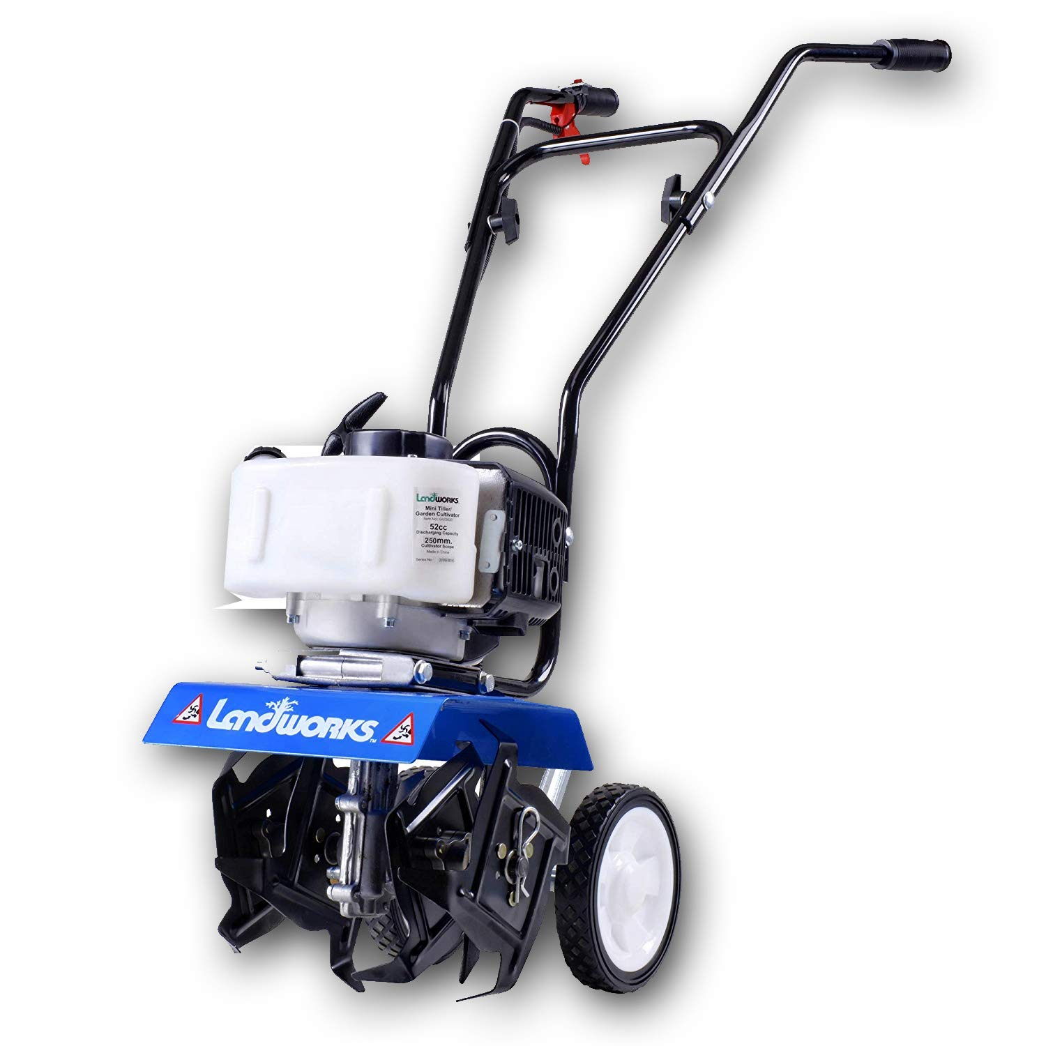 Landworks Super Duty Mini Tiller Cultivator 3HP 52cc 2 Stroke Gas Motor 4 Premium Steel Adjustable Forward Rotating Tines for Garden & Lawn, Digging, Weed Removal & Soil Cultivation EPA/CARB Certified by Landworks