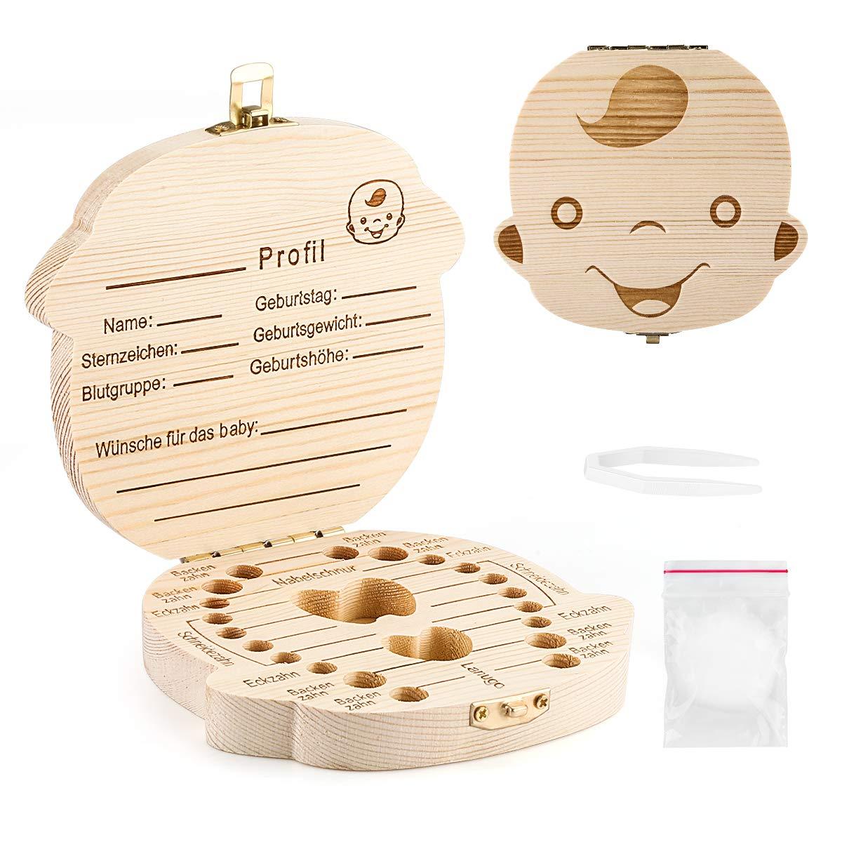 f/ür Jungen /& M/ädchen Die Zahnbox hat einen Deckel mit Schraubverschluss Meine Milchz/ähne Milchzahndose aus Holz perfekt als kleines Geschenk /· Zahnfee deutch