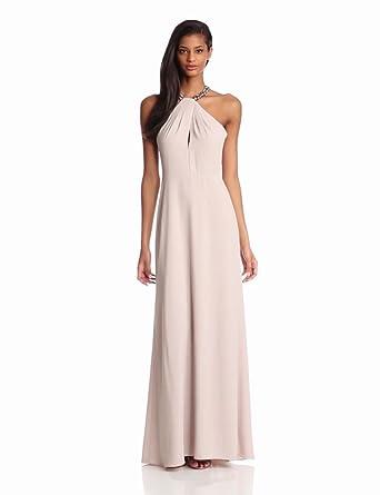 BCBGMAXAZRIA Women's Sarah Woven Evening Gown, Light Stone Combo, 4