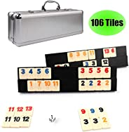 KAILE 106 Tiles Rummy Game Outlasting Color with Aluminum Case & 4 Anti-Skid Durable Trays for Kids